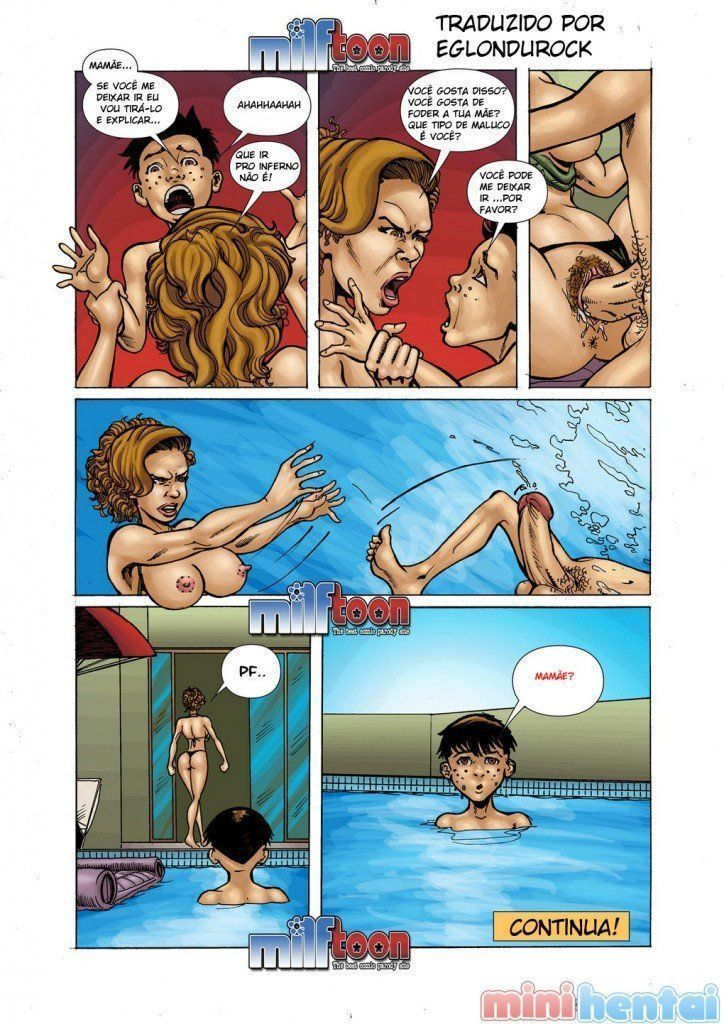 Incesto na piscina com a mãe safada